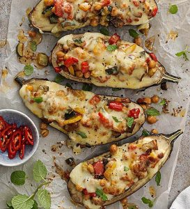 Stuffed cheesy eggplant recipe