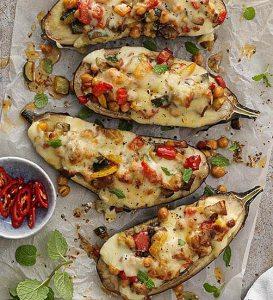 Stuffed cheesy eggplant recipe